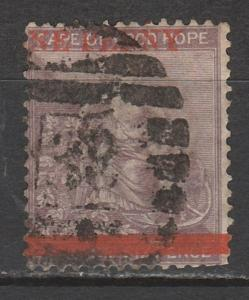 CAPE OF GOOD HOPE 1874 HOPE ONE PENNY ON 6D USED