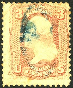 U.S. #104 USED BLUE CANCEL