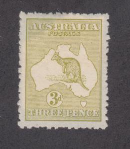 Australia Sc 5 MLH. 1913 3p olive bister Kangaroo, die I, VF