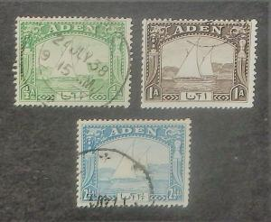 Aden 1, 3, 5. 1937 Half a, 1a, Two & one-half a Dhows, used.