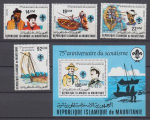Z4072, 1982 mauritania set + s/s mnh #495-99 scouts