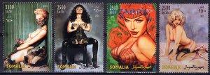 Somalia 2003 THE ART OF OLIVIA Pop-Art-Nudes-DOMESTIC CAT Set (4) Perforated MNH