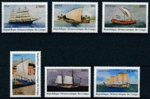 Congo MNH Set Of 6 Sailing Boats 2001