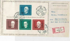 Germany 1968 Registered Slogan Cancels FDC Famous Men Stamps Cover Ref 23461