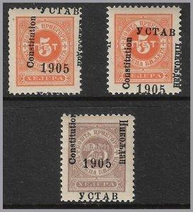 MONTENEGRO - 1905 Postage Due Constitution Overprints - Varieties - J14, J16 (2)