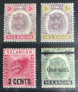 MALAYA 1891-1900 SELANGOR tiger 4V MH M2745