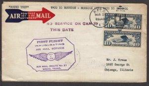1928 First Flight CAM-21 round trip Waco - Houston - Chicago via Waco