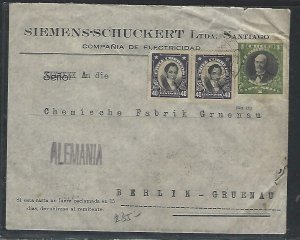 CHILE  (P3108B)   1936   1P+40CX2 COVER SANTIAGO VIA BUENOS AIRES TO GERMANY