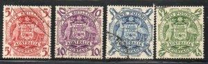 Australia Sc 218-21 1949-50 Hi Value Arms stamp set used