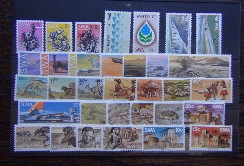 South West Africa 1970 1978 sets Water Fauna Animals Bushmen Deserts etc MNH