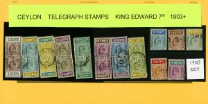 Ceylon 1903 Onward King Edward VII Telegraph Stamp Collection w/ # 13V