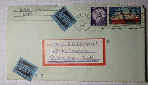 US Airmail Cover 1967 Used POD Label SS Tied On Piece