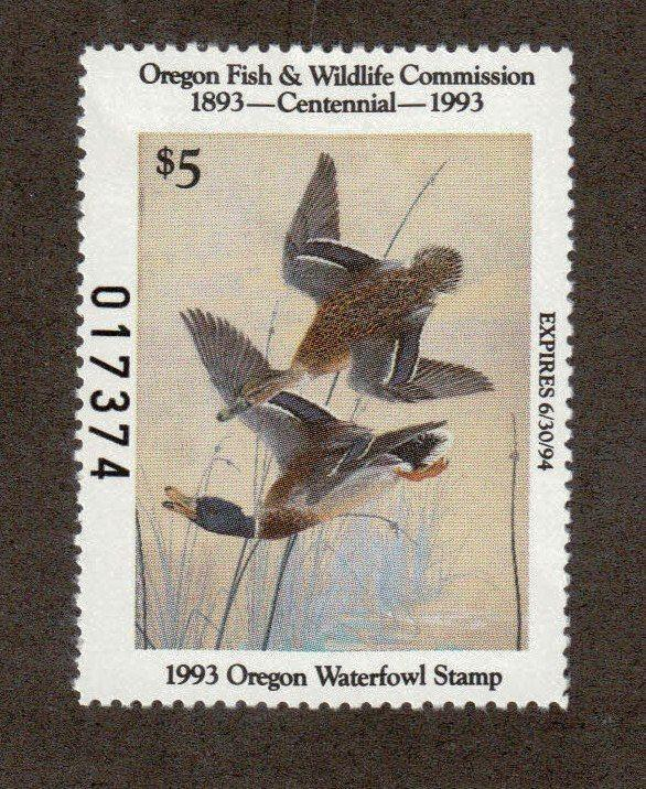 OR10 - Oregon State Duck Stamp. Single.  MNH.OG. #02 OR10
