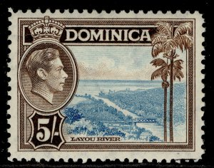 DOMINICA GVI SG108, 5s light blue & sepia, NH MINT. Cat £18.