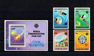 COOK IS - 1983 - WORLD COMMUNICATIONS YEAR - SATELLITE - GLOBE + MNH SET + S/S!