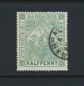 BARBADOS 1897, ½d JUBILEE BLUED PAPER VF USED SG#126 CAT£30 (SEE BELOW)