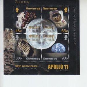 2019 Guernsey Apollo 11 Moon Landing SS  (Scott NA) MNH