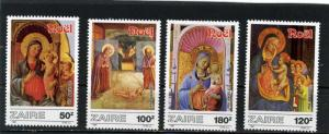 ZAIRE 1987 Sc#1237-1240 CHRISTMAS PAINTINGS SET OF 4 STAMPS MNH