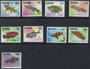 Zaire SC862-870 Pretty Fish MNH 1978