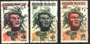 French polynesia. 1958. 5-7 from the series. Polynesian leader. USED.