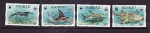 Kiribati-Sc#562-5-Unused NH set-Marine Life-WWF-Manta Ray-Sharks-1991-