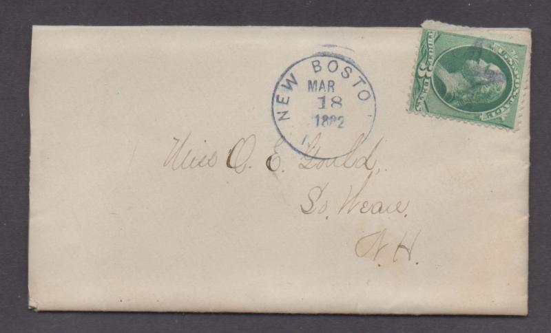 **US 19th Cent Cover, New Boston, MA, 3/18/1888 CDS, Star F/C DPO1, Encl