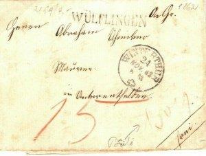 Switzerland Cover *Wülflingen* Winterthur EL 1862{samwells-covers} SP27
