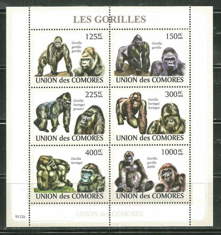 Comoro Islands MNH S/S Gorillas Primates 2009 6 Stamps