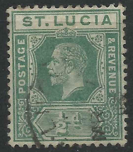 St Lucia 1912 - ½d George V wmk Mult Crown CA - SG78 used