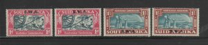 SOUTH WEST AFRICA #133-134a-b  1938  VOOTREKKER ISSUE    MINT VF LH O.G