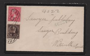 $US Mourning cover Sc#267+272 Registered 1897 NY to Maine