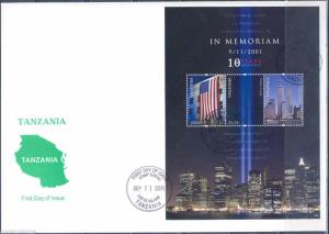 TANZANIA 10TH  MEMORIAL ANNIVERSARY SEPTEMBER 11TH SHEET ON FIRST DAY COVER