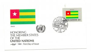 United Nations #490 Flag Series 1986, Togo, Artmaster, FDC