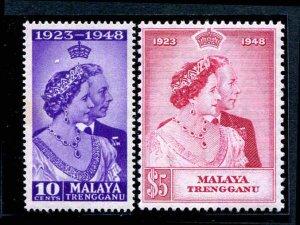 MALAYA Trengganu  47 - 48  MNH SILVER WEDDING SET 1948