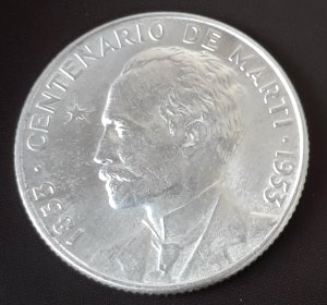 1953 Cuba Silver Coin Jose Marti 25c Circulated