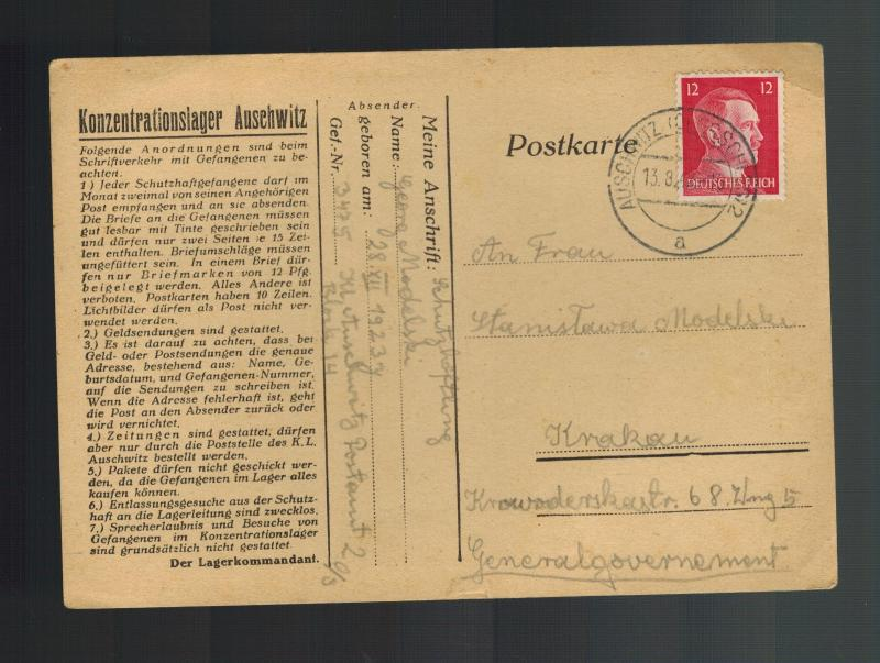 1942 Germany Auschwitz Concentration Camp Cover postcard Krakow Georg Modelski 3