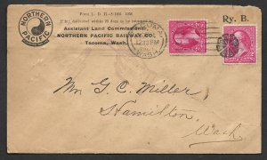 Doyle's_Stamps: 1901 RR Tacoma to Hamilton, WA, Postal History Cover w/CDS