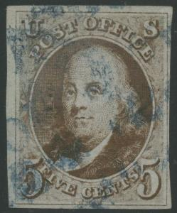 #1a VF USED BLUE TOWN CANCEL WITH CERT CV $975 HV9641