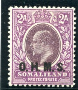 Somaliland 1905 KEVII Official 2a dull & bright purple MLH. SG O14. Sc O16.