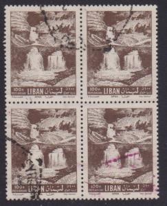Lebanon Airmail # C325 , Afka Water Falls , F-VF used Block of 4 - I Combine S/H