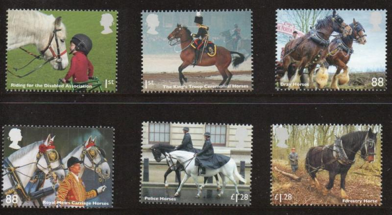 Great Britain Sc 3260-5 2014 Horses stamp set mint NH
