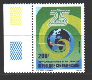 Central African Republic. 1986. 1250. 25 years old Air Africa, airplane. MNH.