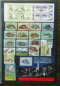 Tuvalu Range of Commemorative issues Officials Fish 70c RW Booklet Panes Used