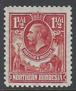 Northern Rhodesia, Scott #3; 1 1/2p King George V, MH