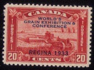 Canada Sc #203 MLH,OG World's Grain Exposition 1933 Regina Overprinted VF/XF