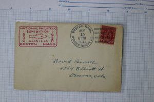 National Philatelic Exhibition Boston MA Convention Cachet Cover 1930 fish logo