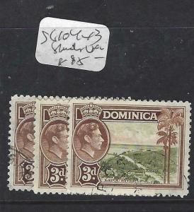 DOMINICA (PP1903B)  KGVI  3 D  SG 104  X 3 SHADES       VFU