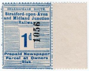 (I.B) Stratford-upon-Avon & Midland Junction Railway : Newspaper Parcel 1d