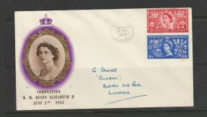 GB FDC 1953 Coronation, 2 1/2d & 4d only, Illus, Lichfield cds, Neat hand addres