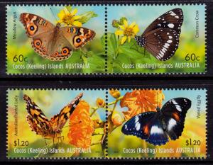 Cocos Islands 365-366 MNH - Butterflies Insects - 2012